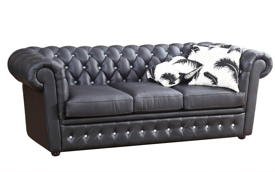 Svært Chesterfield 3-seter sofa i sort skinn med krystallknapper | FINN.no CV-73