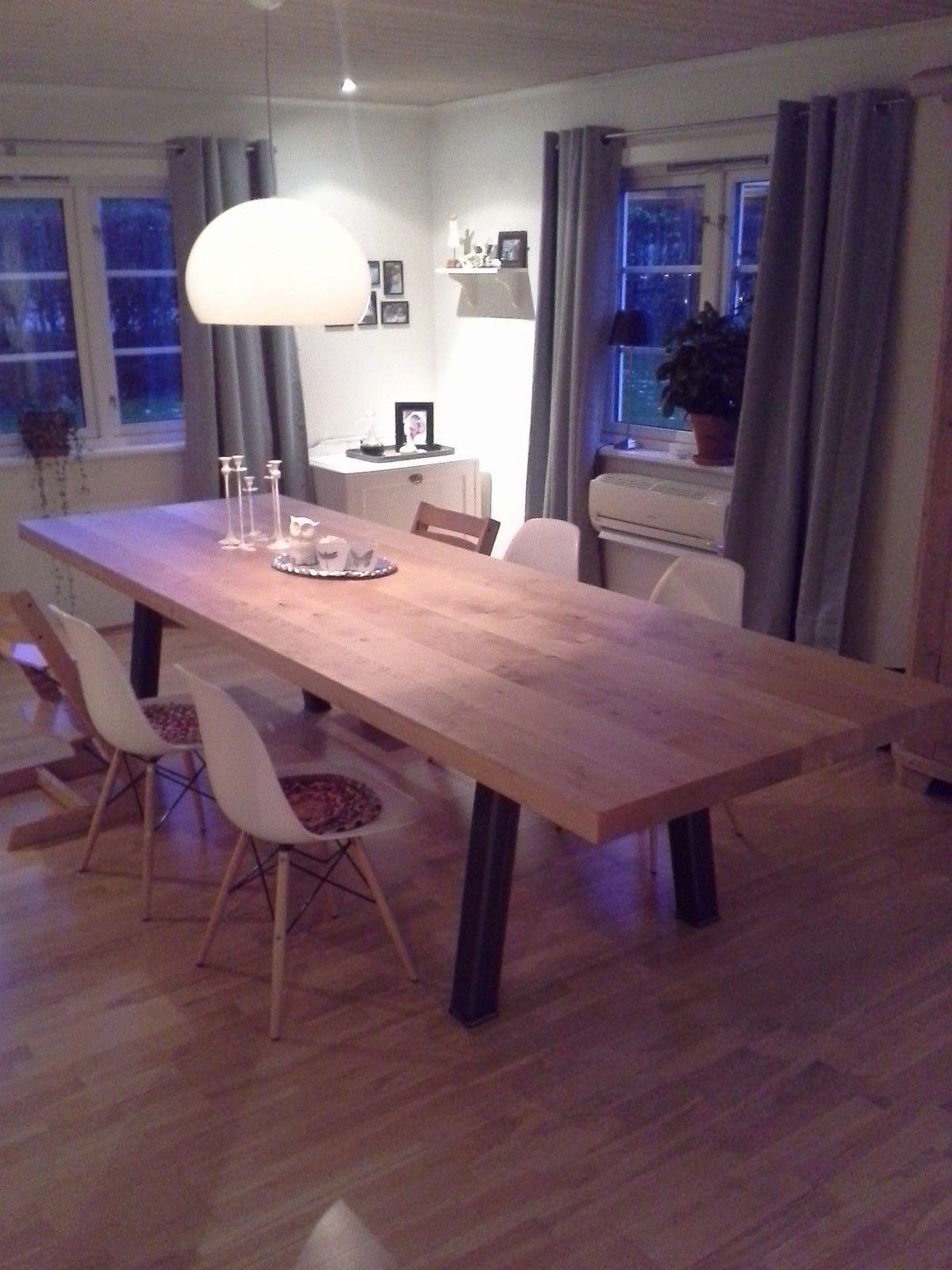 Langbord-Spisebord-designbord-tre og stål | FINN.no