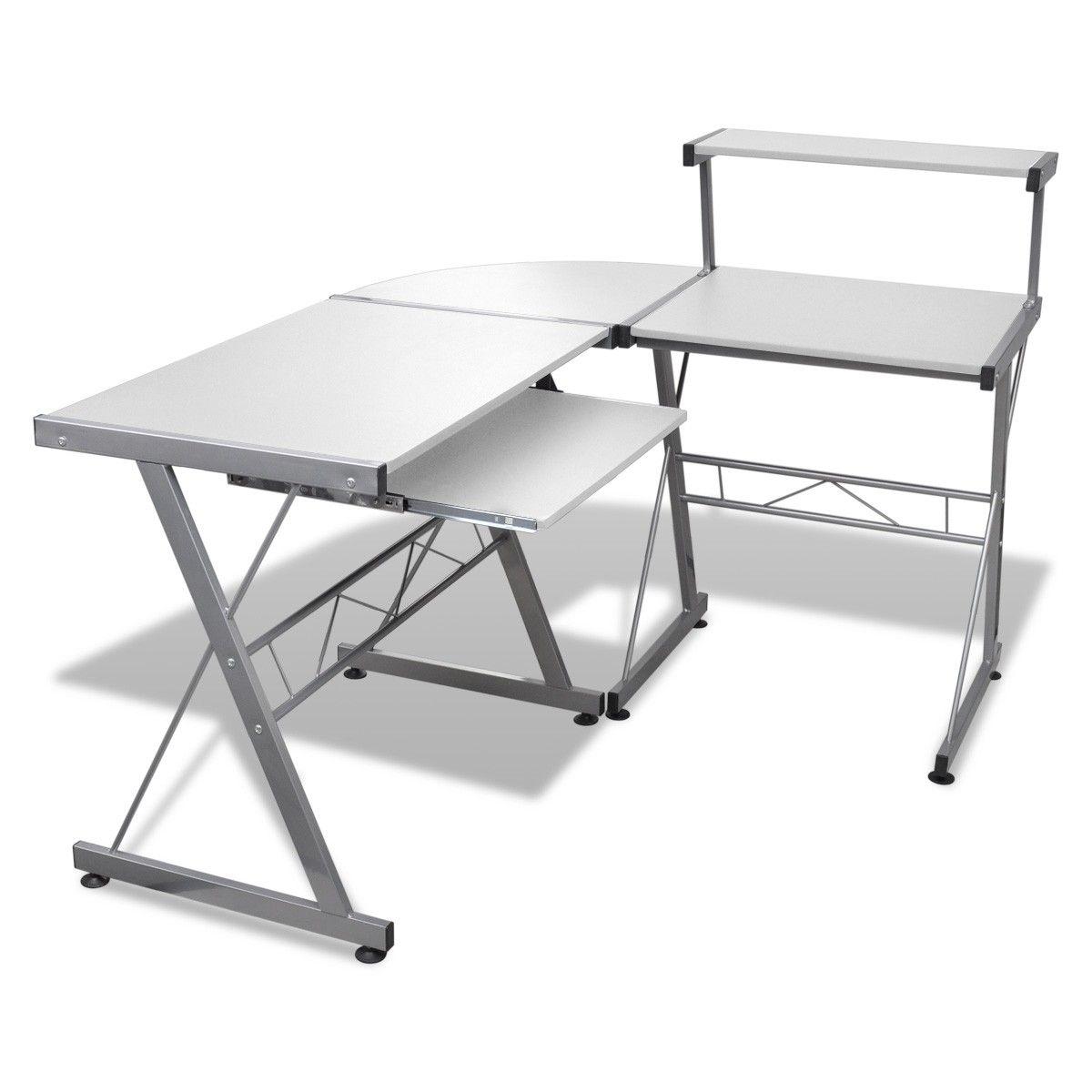 Køb Hvit datamaskin bord med uttrekknings tastatur brett