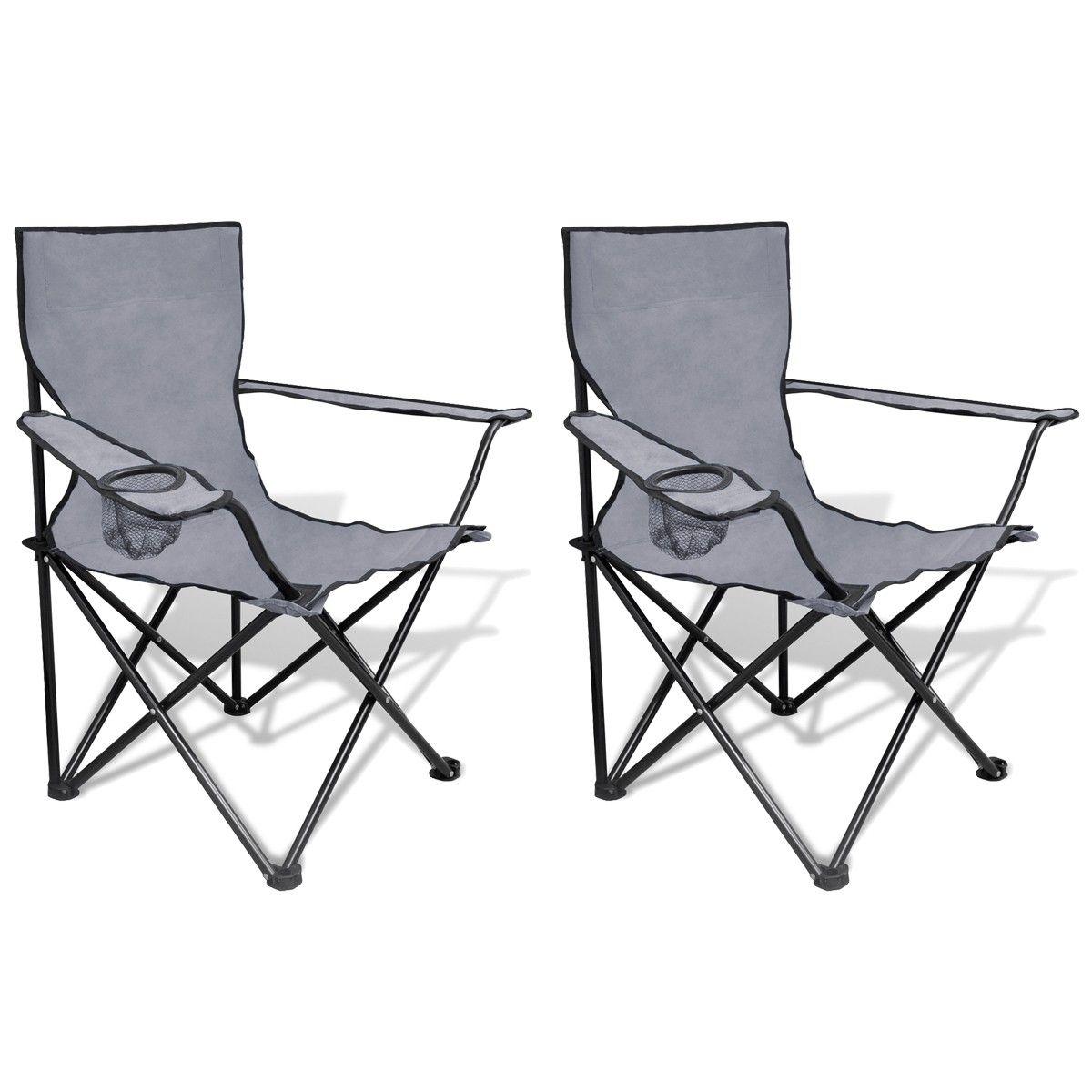 Sammenleggbar Stol 2 stk Camping Stol med Grå Veske (41147