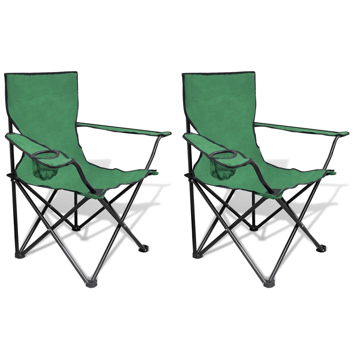 Oppsiktsvekkende Sammenleggbar Stol 2 stk Camping Stol med Grønn Veske (41148 ZQ-34