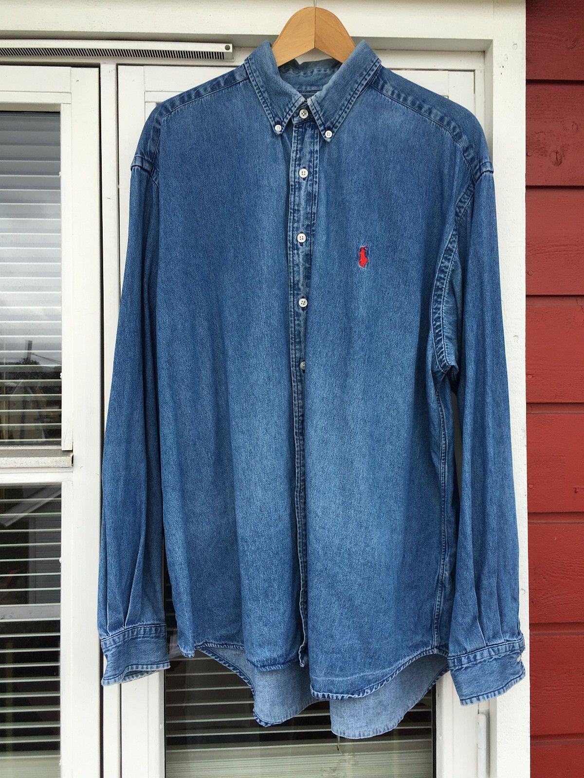 0ea37ae4 Solgt! Vintage, retro denim skjorte fra Polo Ralph Lauren, 90-talls, med  rød logo og kul, litt slitt, vask! Sjelden vare! Størrelse XL. I meget god  stan, ...