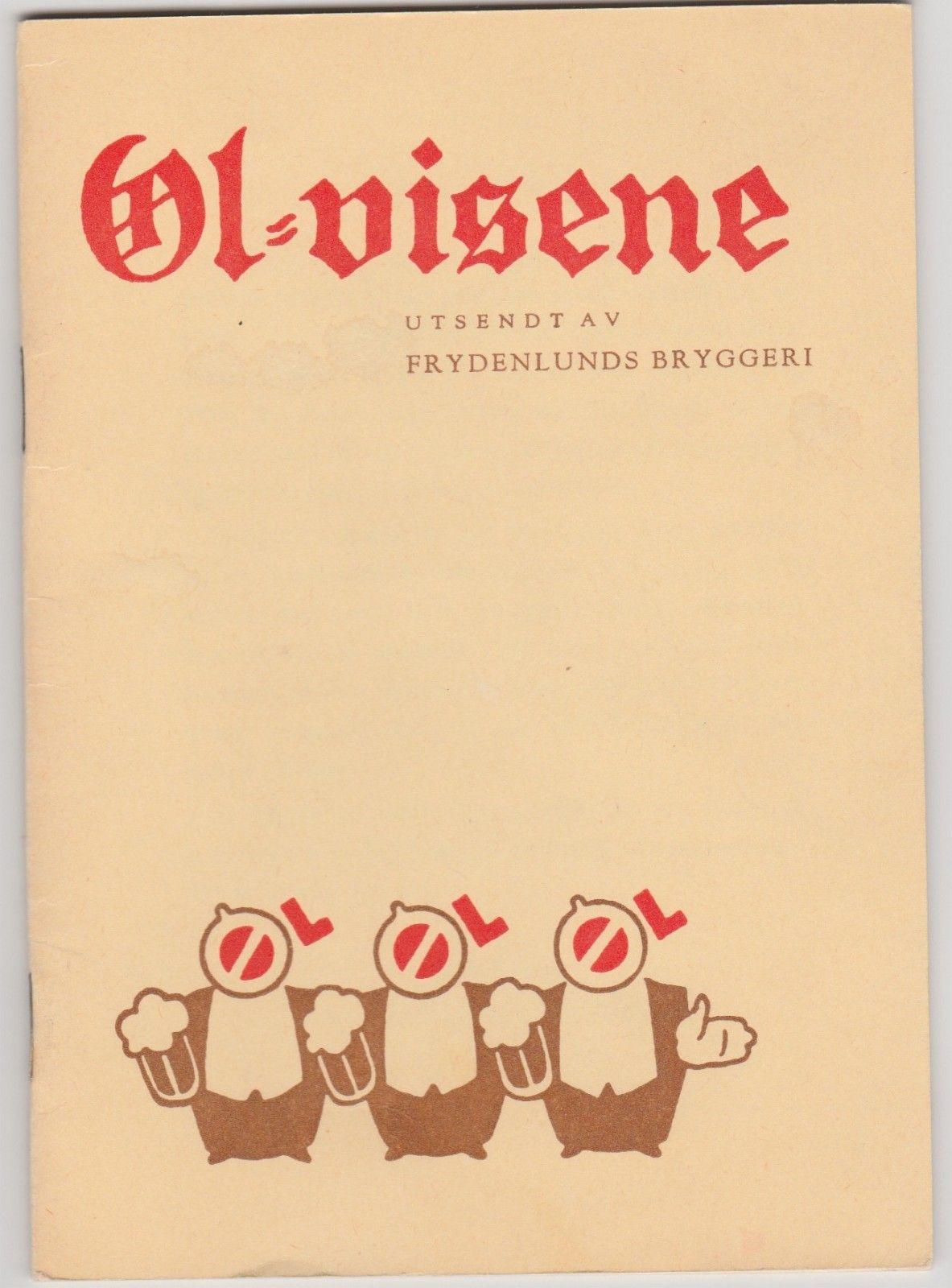 Øl-visene utsendt av Frydenlunds bryggeri - som nye - Oslo  - Paperback, 15 sider. Øl-visene utsendt av Frydenlunds Bryggeri. (fra ca 1940). Meget pent brukt, som ny.  Har flere, kr. 100,- pr. stk. - Oslo