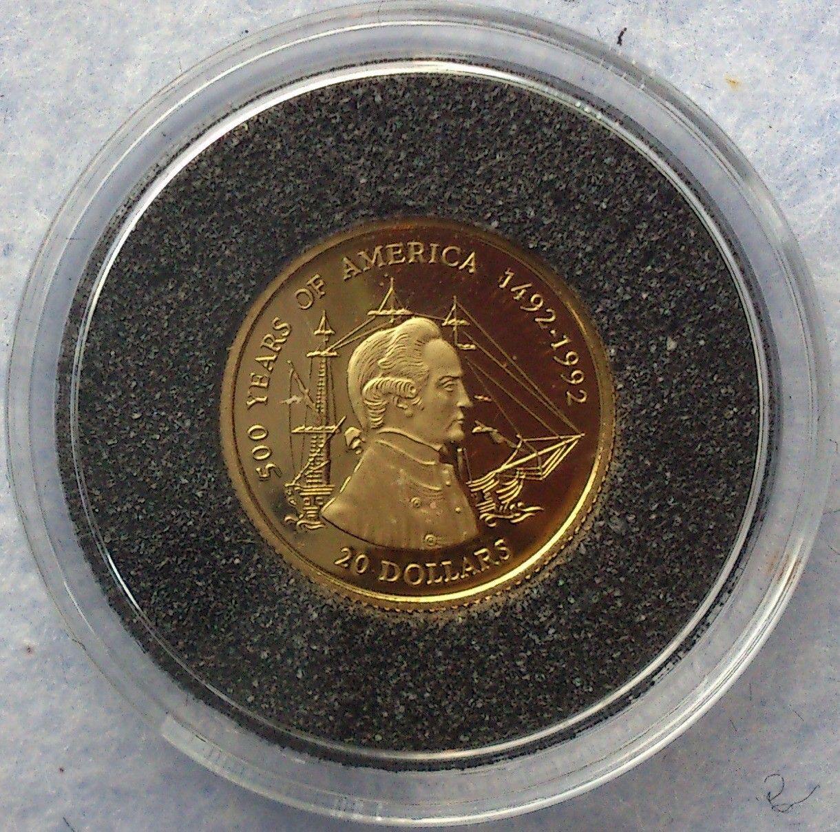 1995, 500 Years of America 1492 - 1992, gull - Krokkleiva  - 1995, Cook Islands, 1/25 oz, 999 gull. Proof mynt i kapsel. Selges kr 575,- + porto, (skam-bud er unødvendig).  Vennligst ikke ring, send sms, pga sykdom. - Krokkleiva