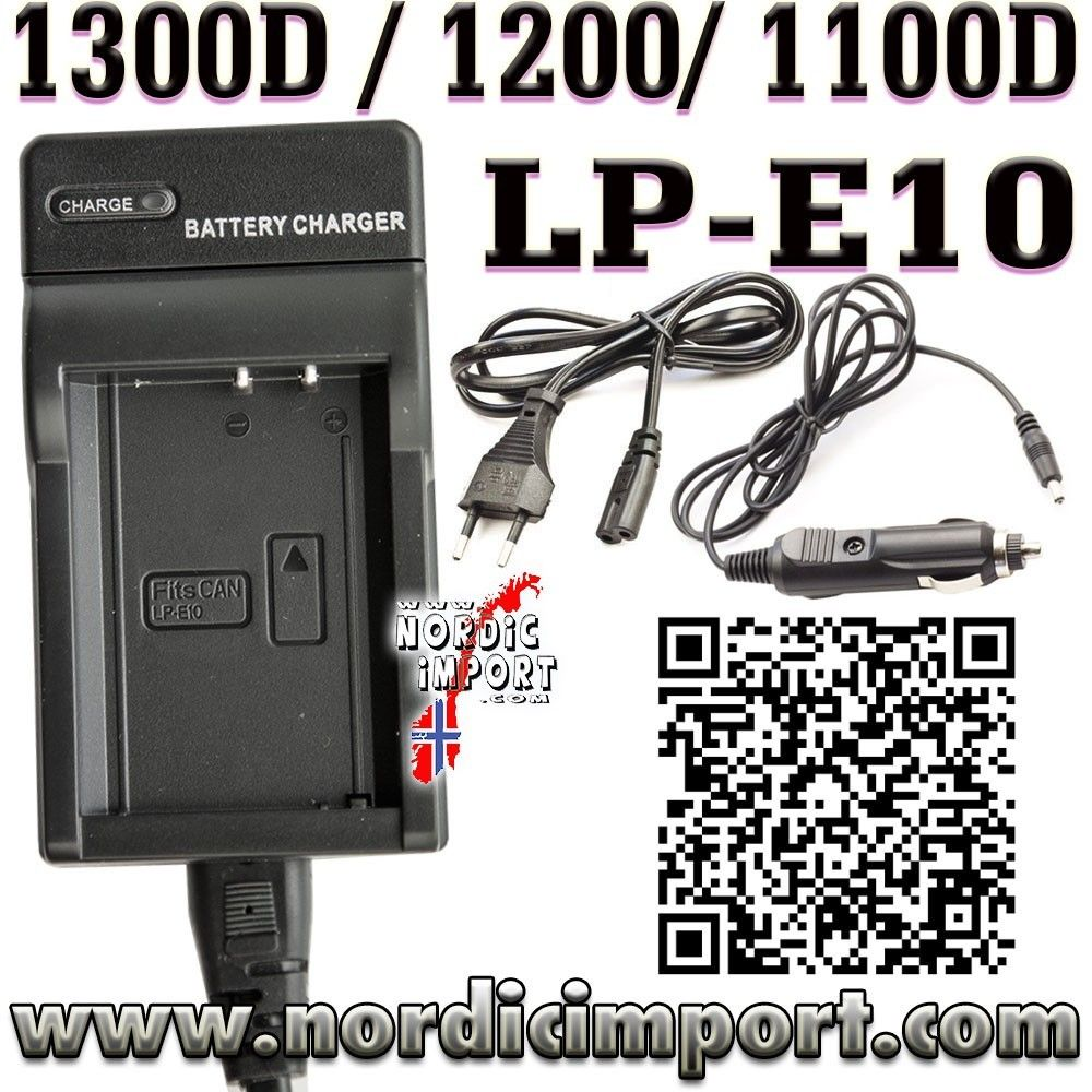 LP E10 batteri Dual lader for Canon EOS 1300D, 1200D & 1100D