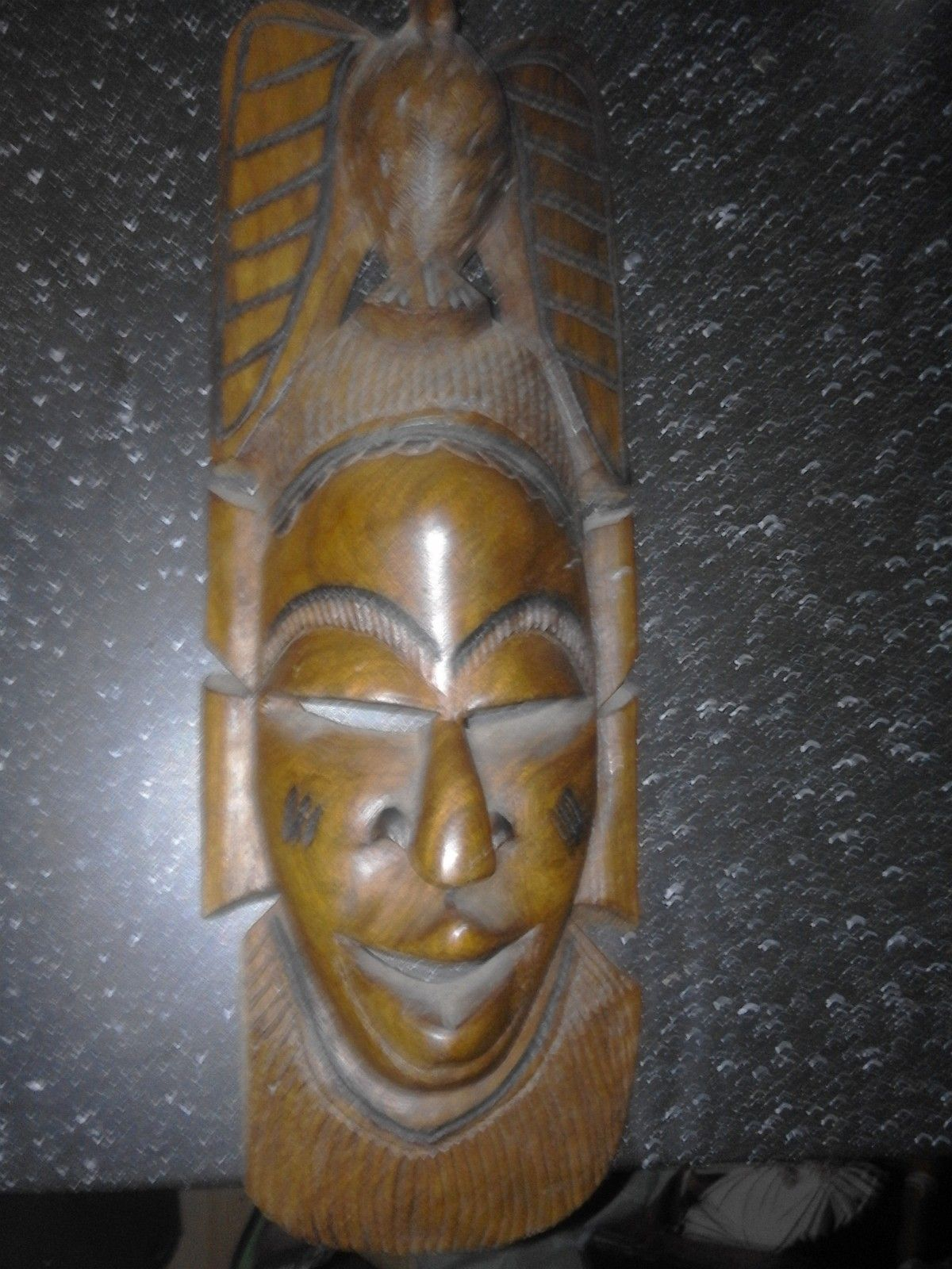 Afrika,maske,treverk,håndlaget - Askim  - Tung nydelig maske 48 cm høy - Askim