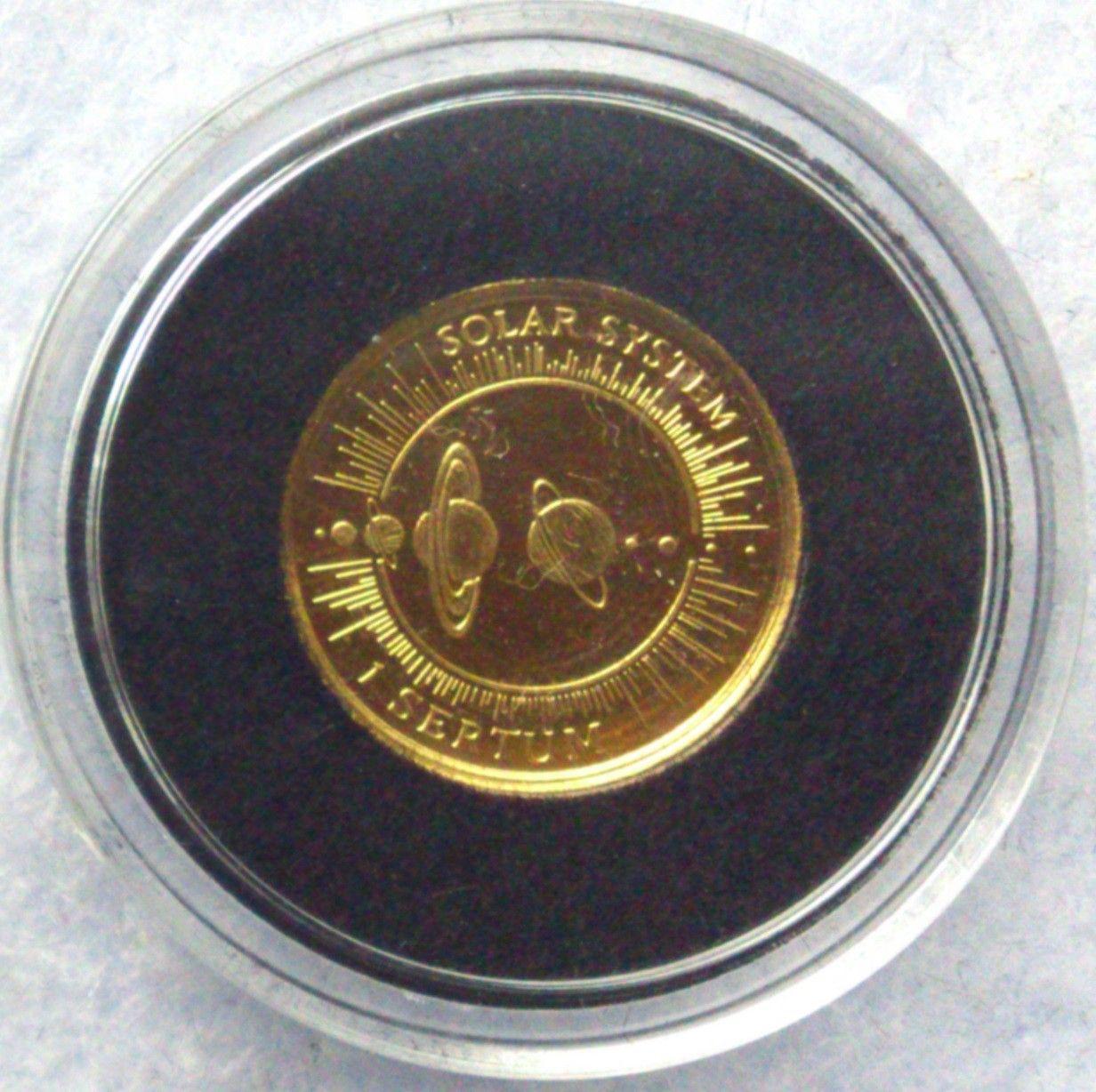 1995, Solar system, gull - Krokkleiva  - 1995, Kingdom of Bhutan, 1/25 oz, 999 gull. Proof mynt i kapsel. Selges kr 575,- + porto, (skam-bud er unødvendig).  Vennligst ikke ring, send sms, pga sykdom. - Krokkleiva