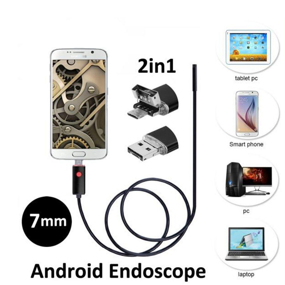 2M 7MM Android PC HD Endoscope Waterproof til android og pc - ådalsbruk  - 2M 7MM Android PC HD Endoscope Waterproof - ådalsbruk
