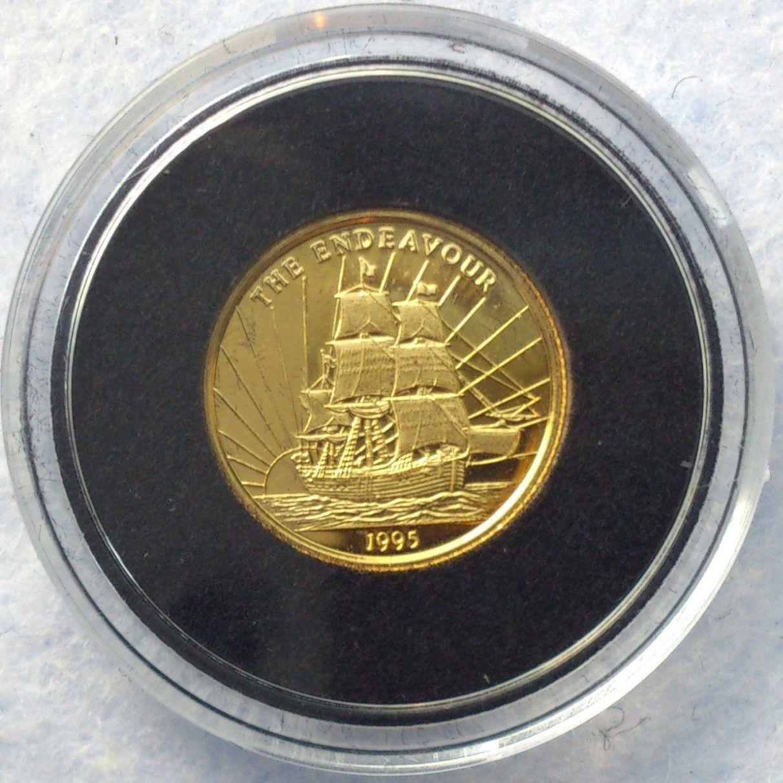 1995, The Endeavour, gull - Krokkleiva  - 1995 Samoa I Sisifo, 1/25 oz, 999 gull. Proof mynt i kapsel. Selges kr 575,- + porto, (skam-bud er unødvendig).  Vennligst ikke ring, send sms, pga sykdom. - Krokkleiva