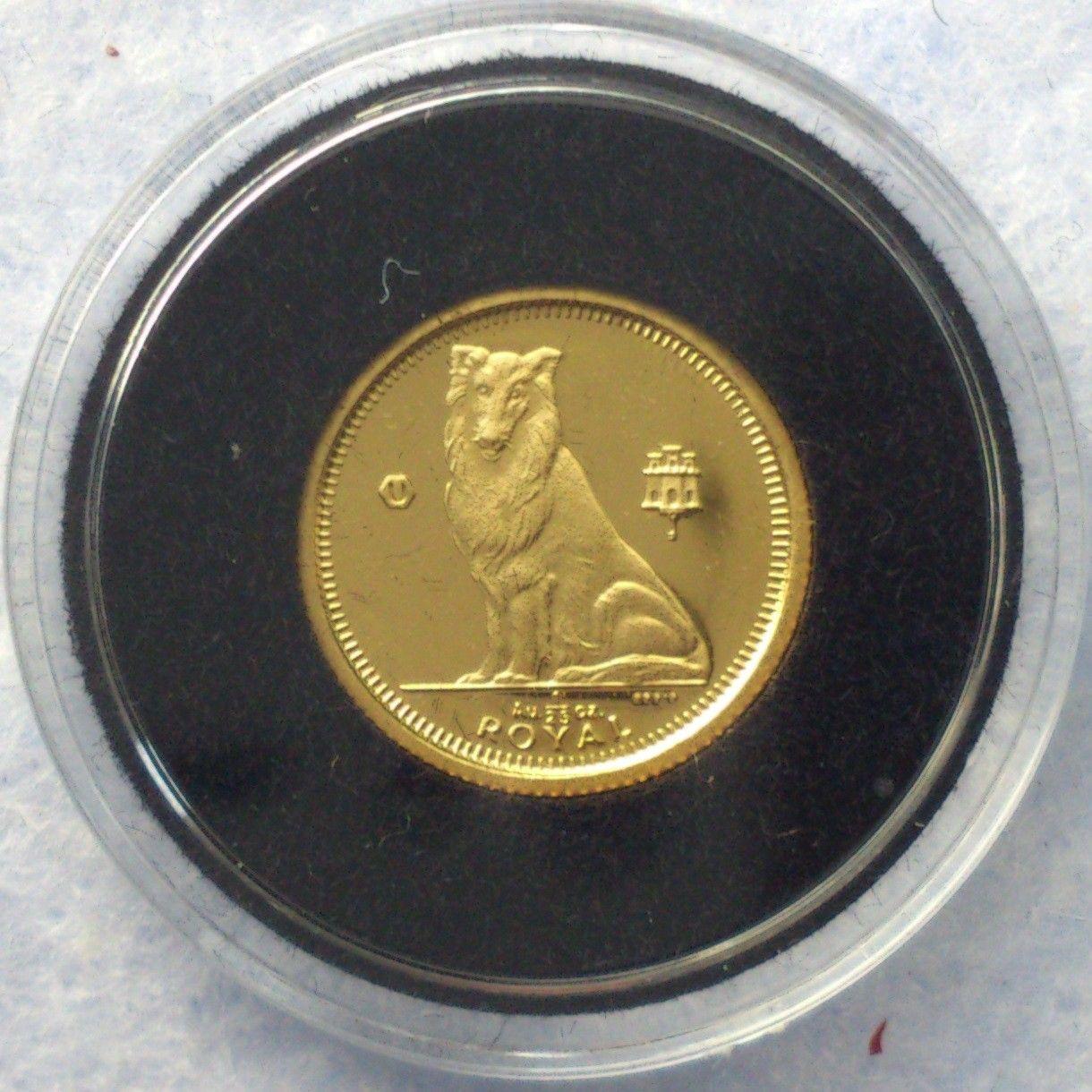 1995, Collie, gull - Krokkleiva  - 1995, Gibraltar, 1/25 oz, 999 gull. Proof mynt i kapsel. Selges kr 565,- + porto, (skam-bud er unødvendig).  Vennligst ikke ring, send sms, pga sykdom. - Krokkleiva