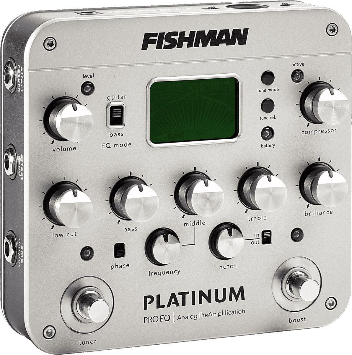 Fishman Platinum Pro EQ/DI Analog Preamp - Flatåsen  - Selger en pent brukt Fishman Platinum Pro EQ/DI Analog Preamp. Fungerer 100% som den skal. Og er en fryd å jobbe med om man spiller akustisk my live og studio. Tuner er nøyaktig. Notch-fiilter er veldig hendig om man vil få frem gitaren i - Flatåsen