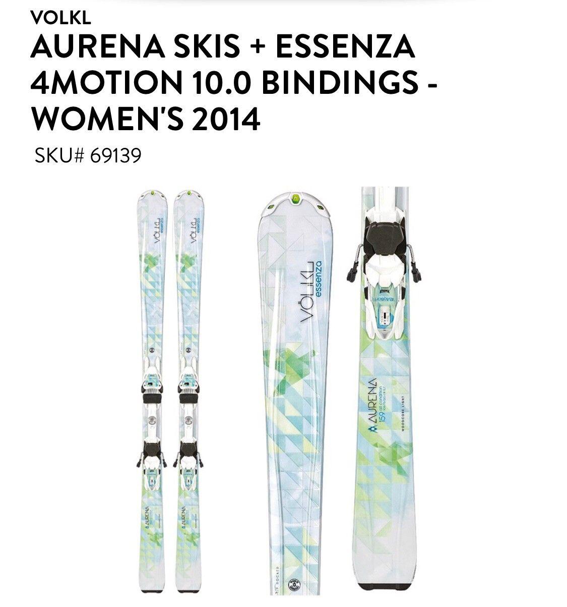 VOLKL AURENA SKIS 159 ESSENZA 4MOTION 10.0 BINDINGS - WOMEN'S 2014 - Bergen  - Fantastiske VOLKL slalåm ski, pent brukt, smøret og klar for bruk.  AURENA SKIS 159 cm Essenza 4MOTION 10.0 BINDINGS  WOMEN'S 2014 Inkludert staver (120 cm) og veske - Bergen