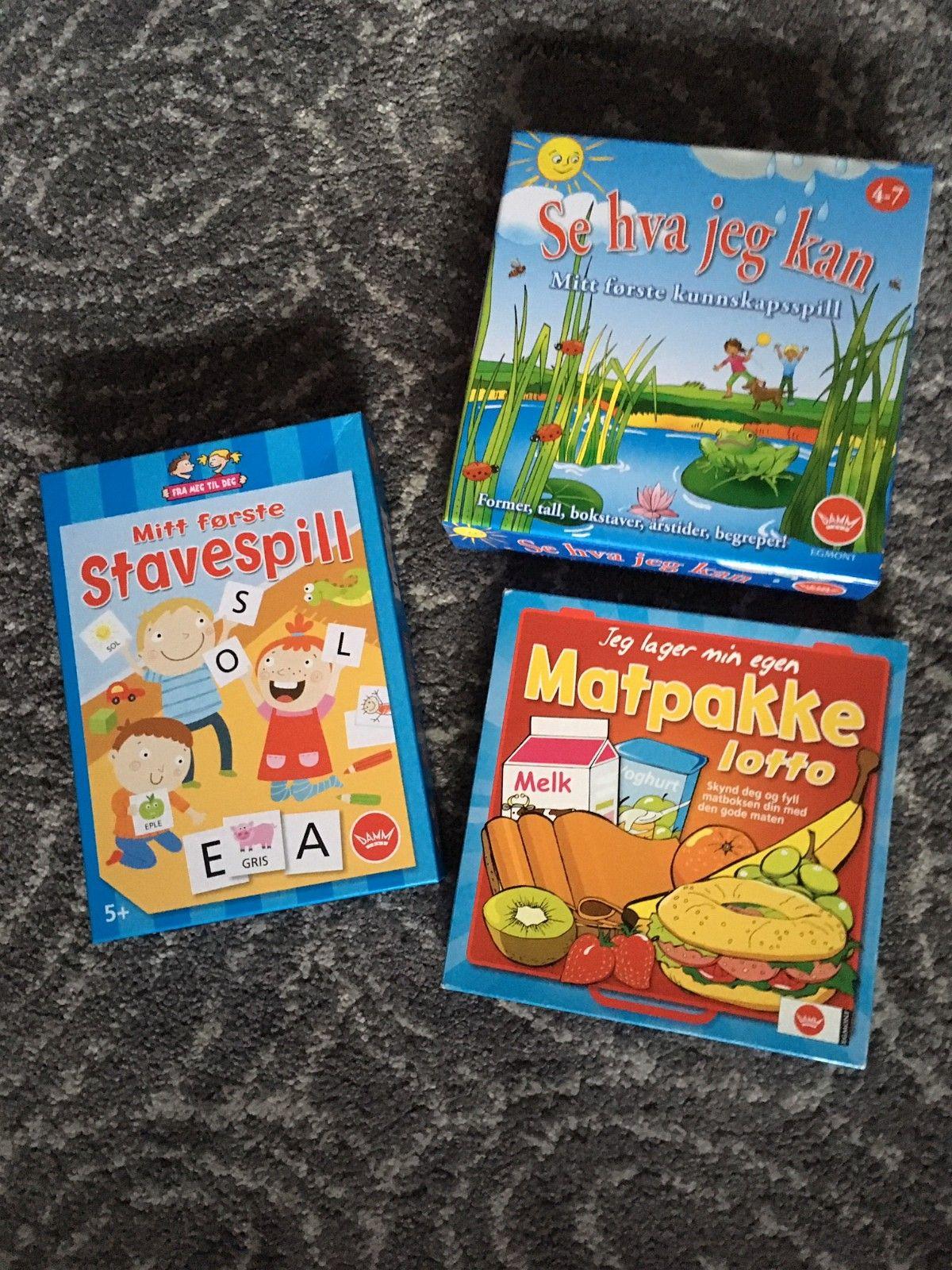685902c2 Brettspill for barn Se hva jeg kan, Stavespill, Matpakke Lotto, pent ...