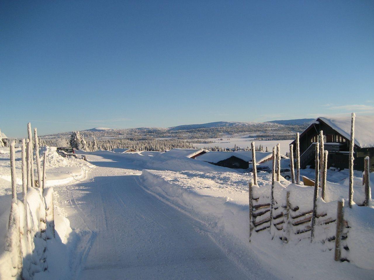 Vei ut fra Sjusjøen fjellstuer