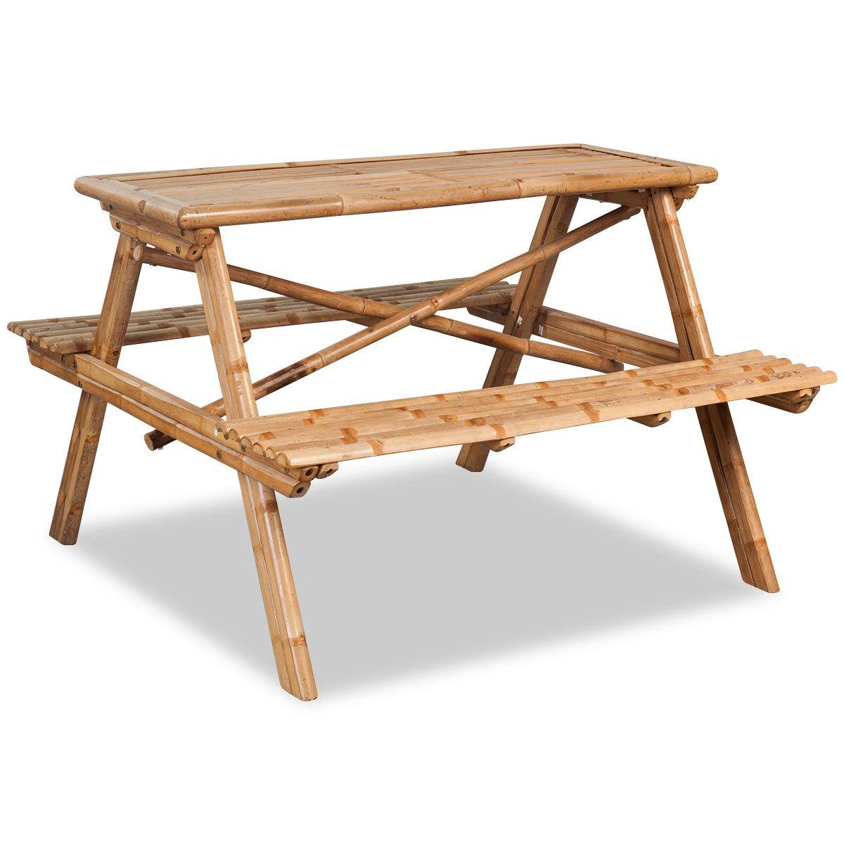 d5a8f6fef vidaXL Piknikbord bambus 120x120x78 cm (42505) | FINN.no