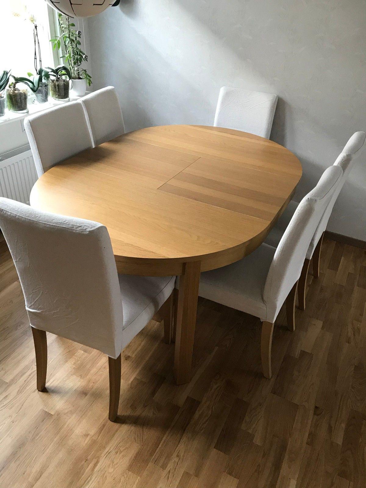 ovalt spisebord med ileggsplate