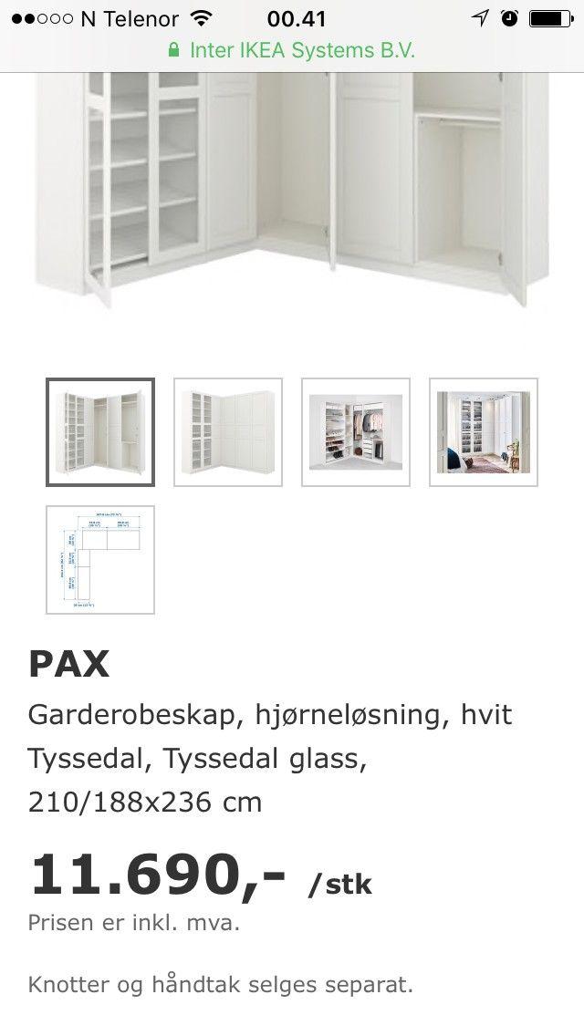 Kjempebra PAX Garderobeskap, hjørneløsning, hvit Tyssedal, Tyssedal glass PC-29