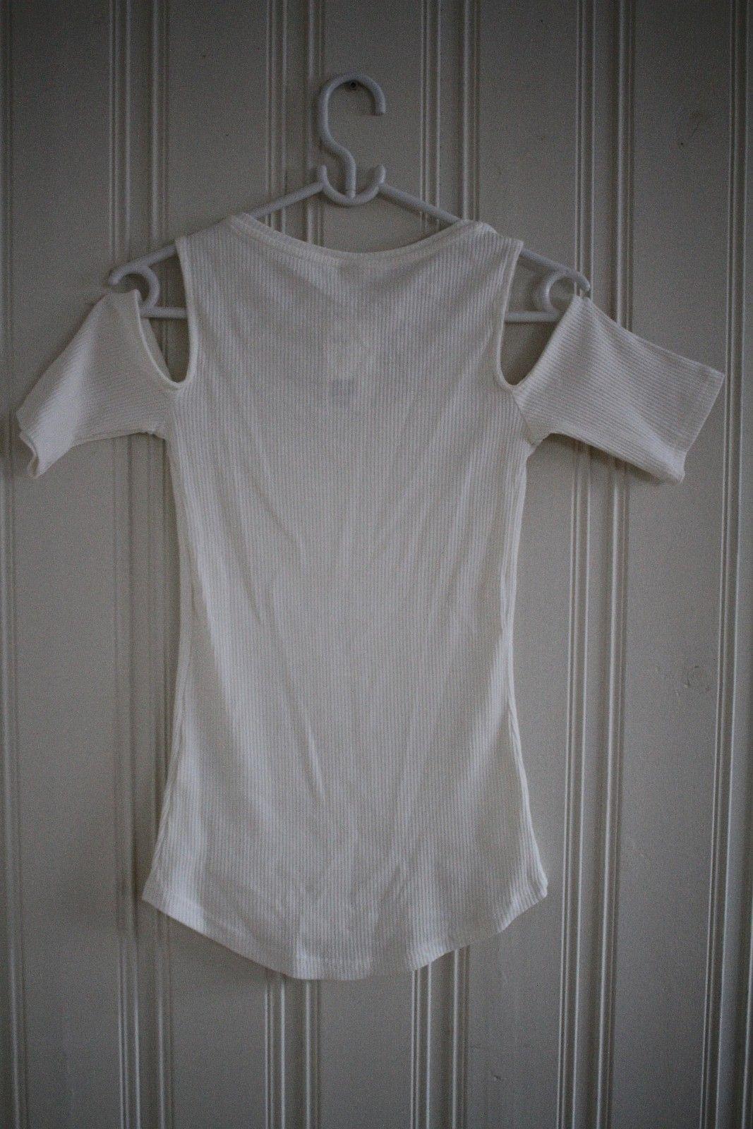 Topp åpen arm bluse skjorte hvit H&M xs 34 s 36 cold