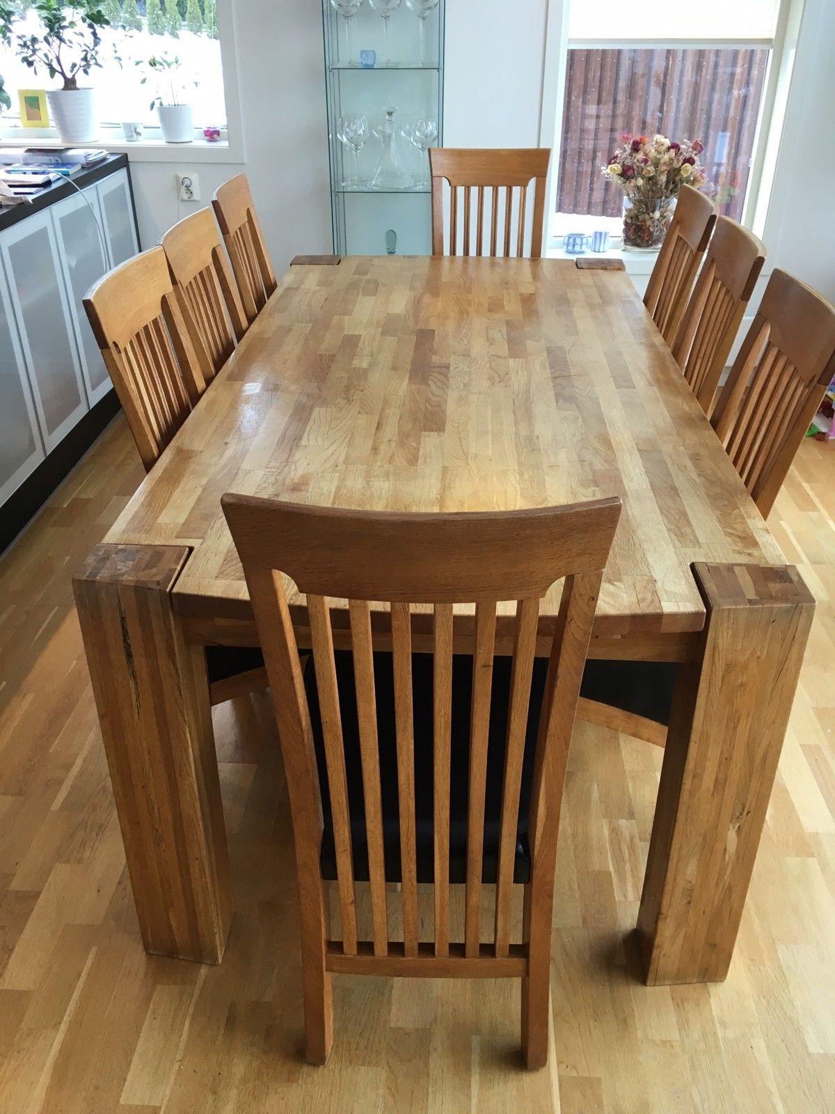 Super Spisebord i massiv heltre eik, m/8 stoler eik, ekte skinn, 8.000 MF-09