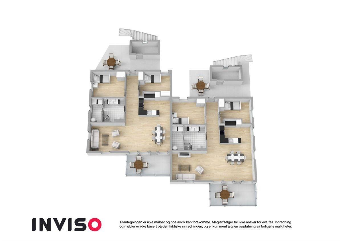 Alternativ 3D planskisse - her er det to soverom i staden for tre