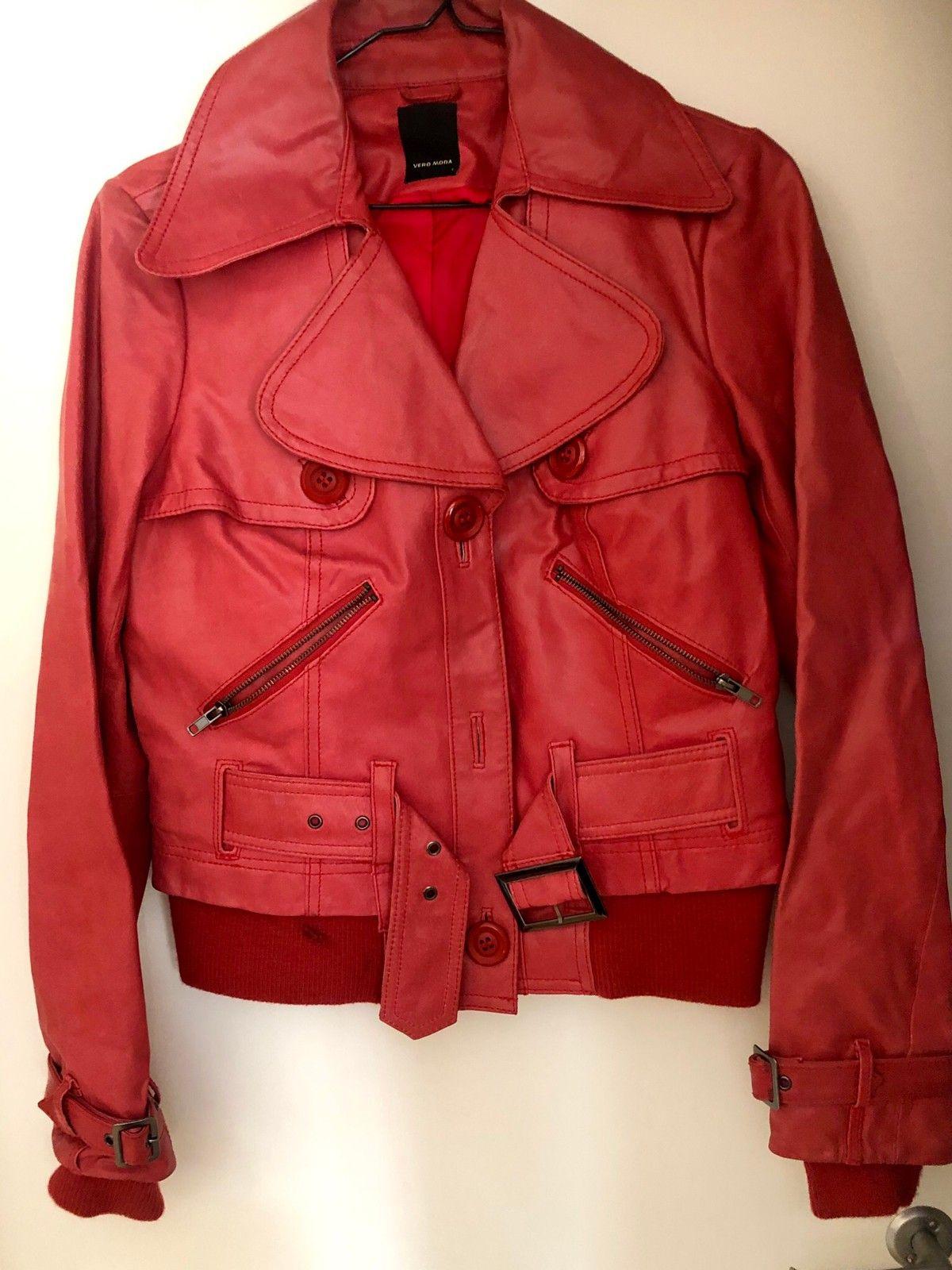 73682e08 Rød skinnjakke fra Vero Moda | FINN.no