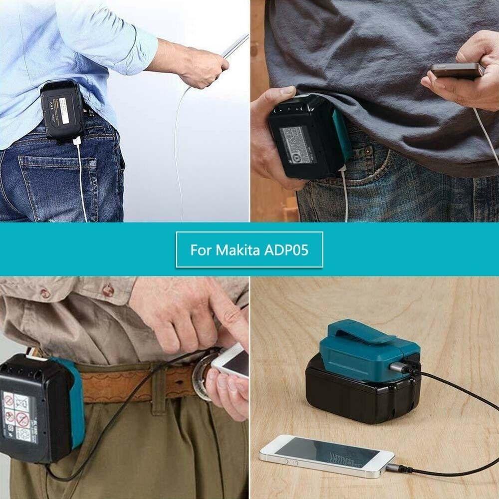 USB adapter for Makita batterier lader telefon og andre