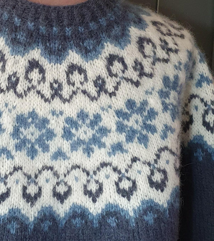 Solgløtt genser i blått   FINN.no