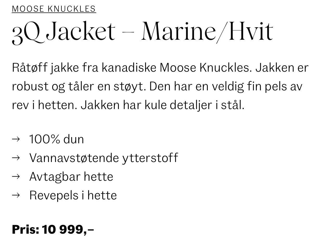 3Q Jacket Marine mHvit pels   Follestad