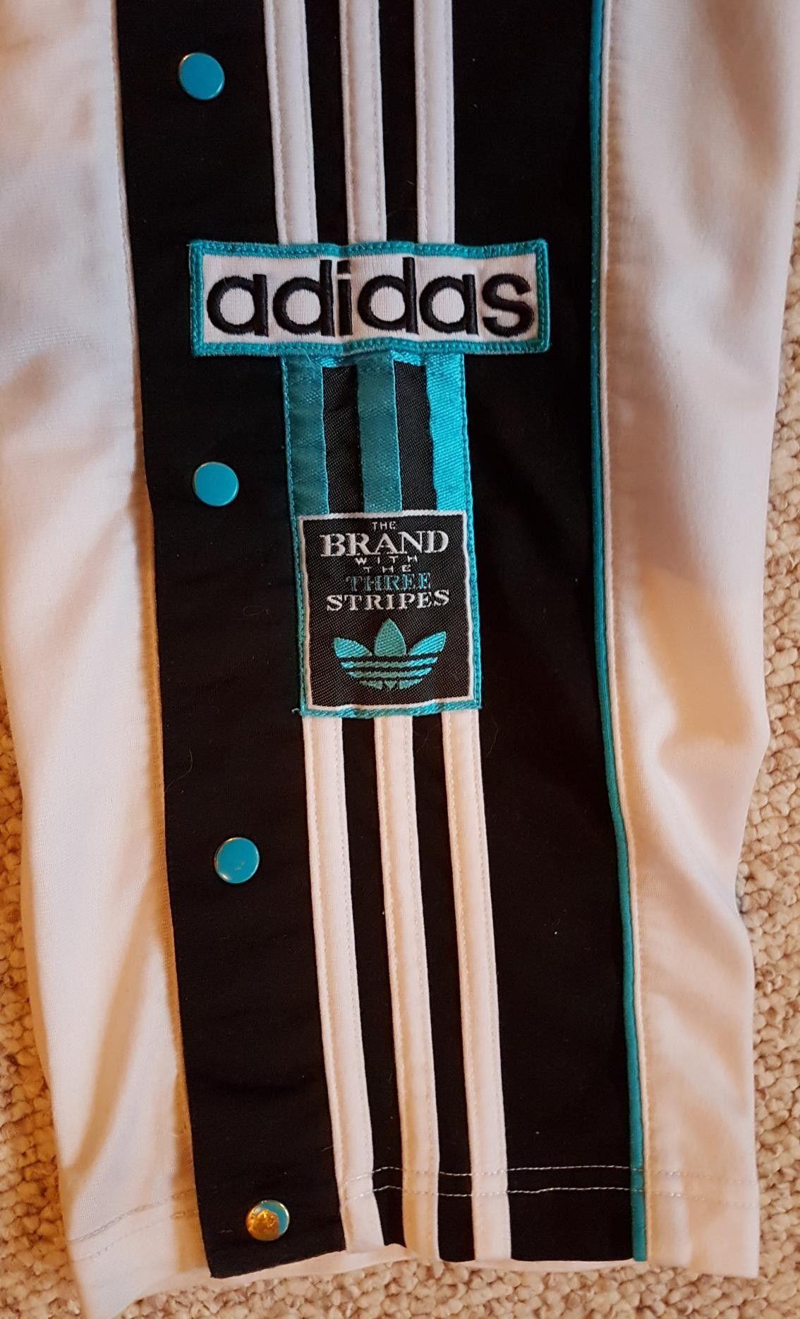 Hvit Adidas Adibreak knappebukse joggebukse | FINN.no