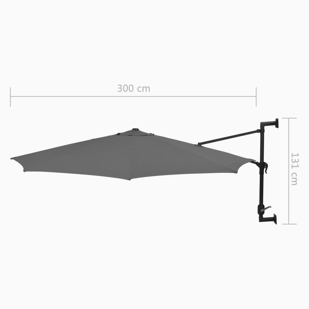 vidaXL Veggmontert parasoll med stålstang 300 cm antrasitt