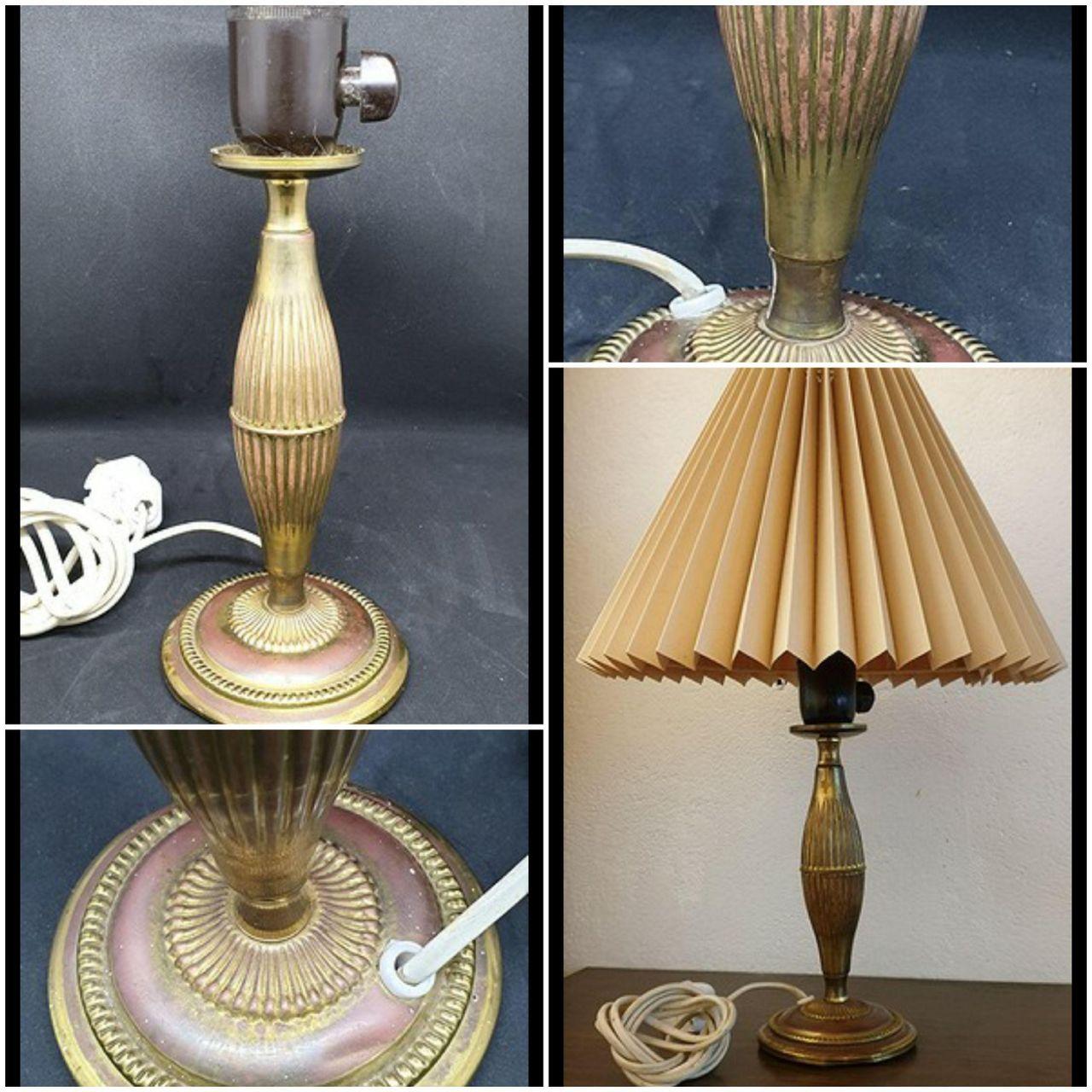 Vintage lampe i messing med nydelige linjer | FINN.no
