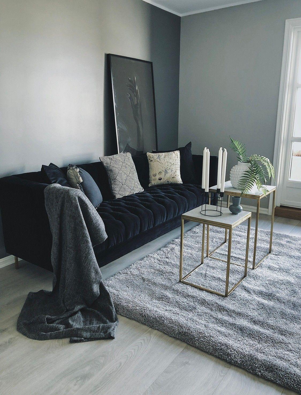 Picture of: Monza Lounge Sofa Bla Velour Venstrevendt