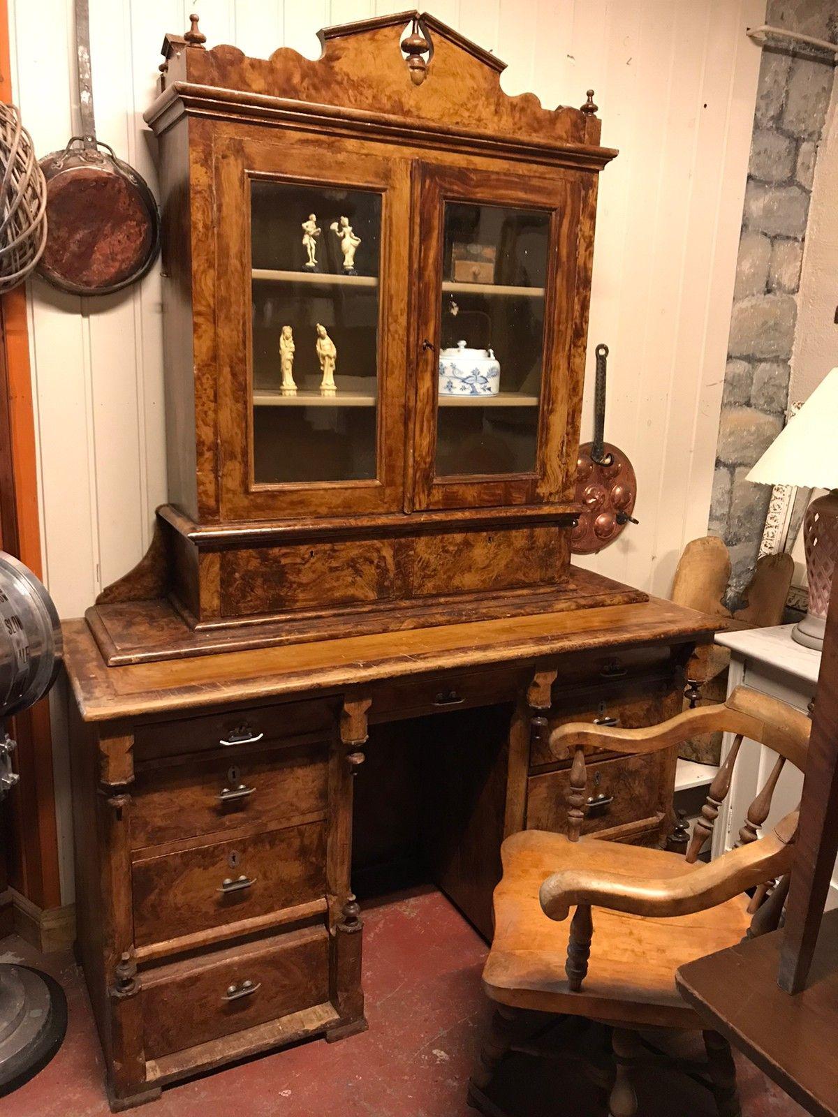 Skrivebord med overskap i furu fra 1880 1910 | FINN.no