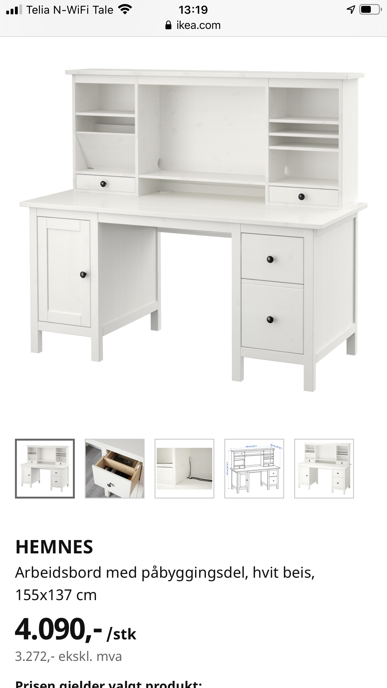 Hemnes skrivebord og Stol fra IKEA | FINN.no