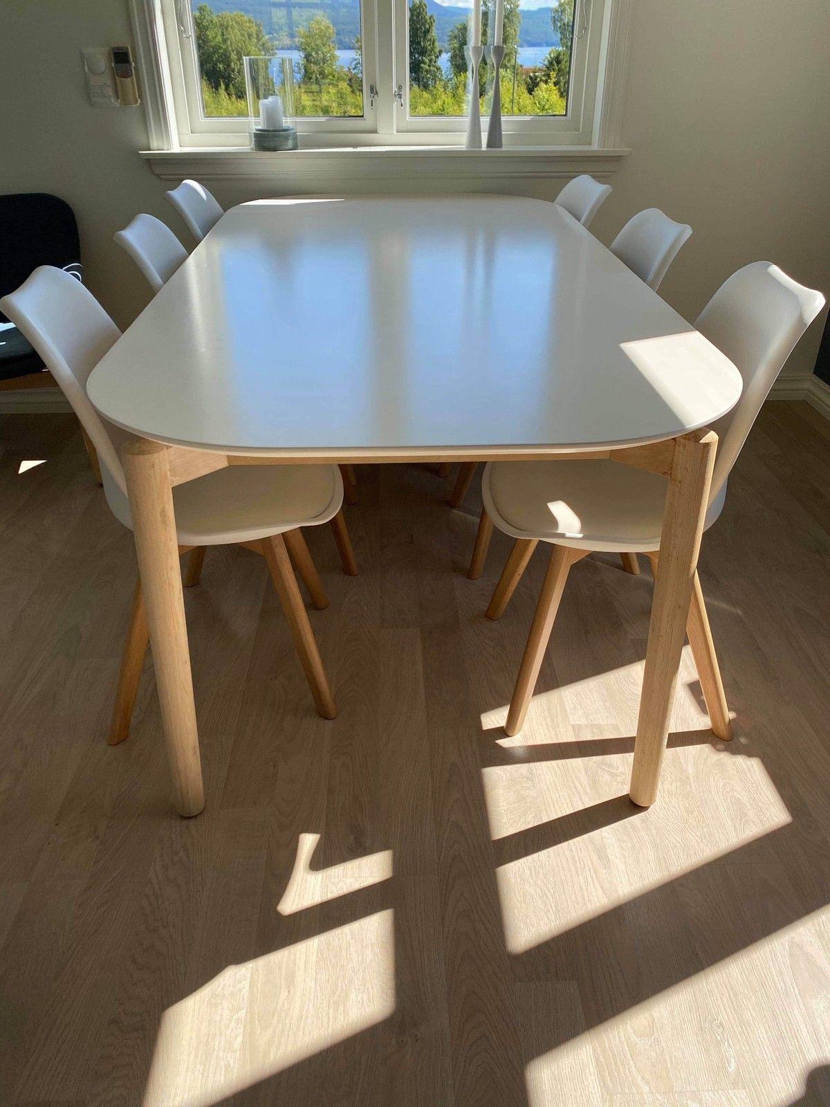Picture of: Spisebord Fra Ikea Med 6 Spisestoler I Skinn Finn No