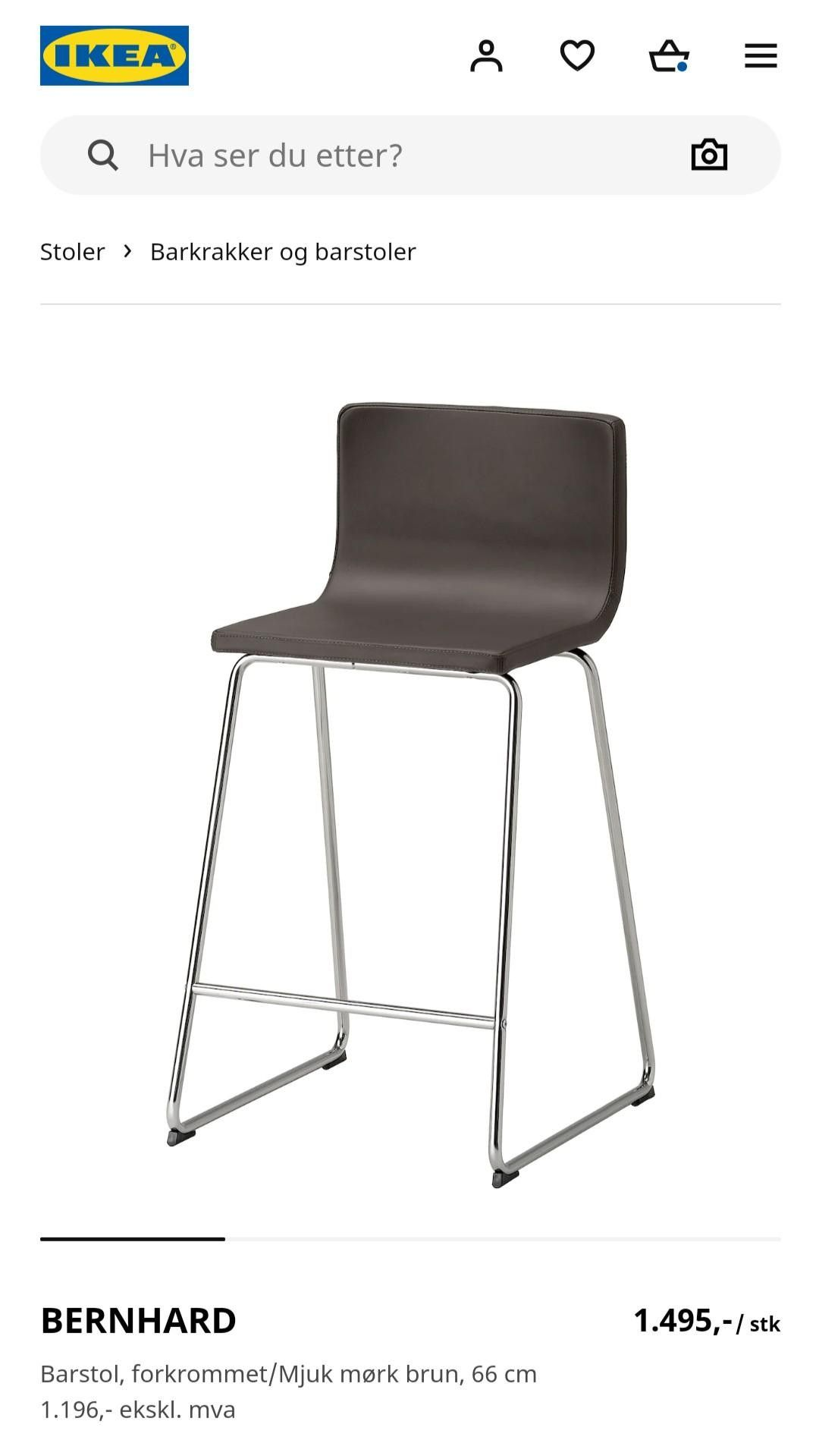1stk IKEA Stol Bernhard Hvit Skinn | FINN.no