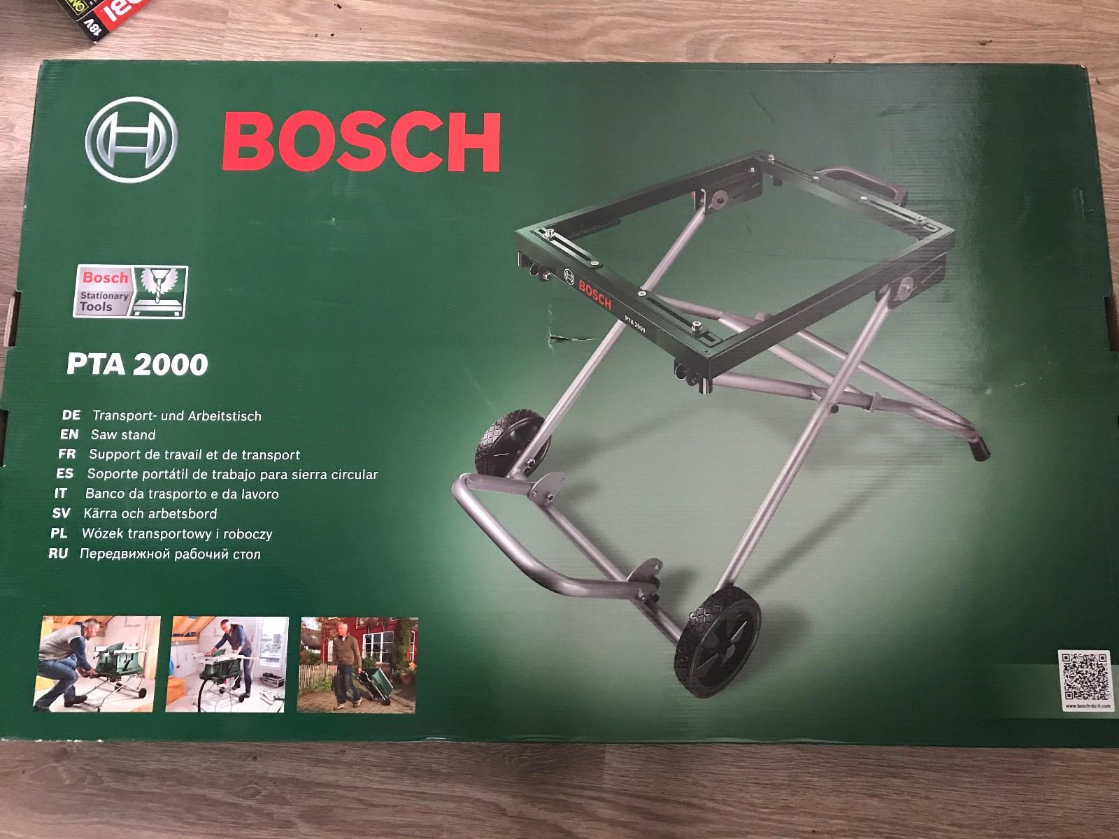 Bosch PTA 2000 sagbord - Hylkje  - Bosch PTA 2000  Et praktisk sammenleggbart transport- og arbeidsbord som passer til Bosch bordsager. Enkelt å transportere med seg. Bæreevne maks 125 kg Sammenleggbart Passer til Bosch bordsager Lav  - Hylkje