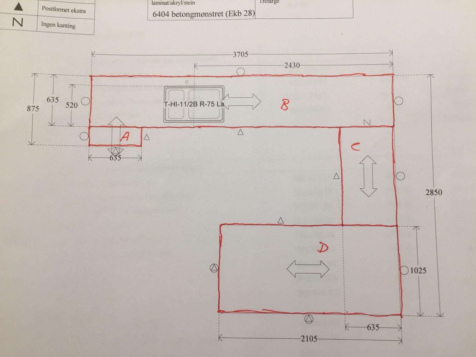 4 stk. nye benkeplater i betongmønstret laminat - Sandnes  - Tilpassede IKEA Ekbacken 28mm laminat benkeplater Plate A: Ny. I orignal emballasje. Plate B: Ny. I orignal emballasje. Platen er uten hull til vask. Plate C: Har vært monter. Liten skade (se bilde). Plate D: Ny. I ori - Sandnes