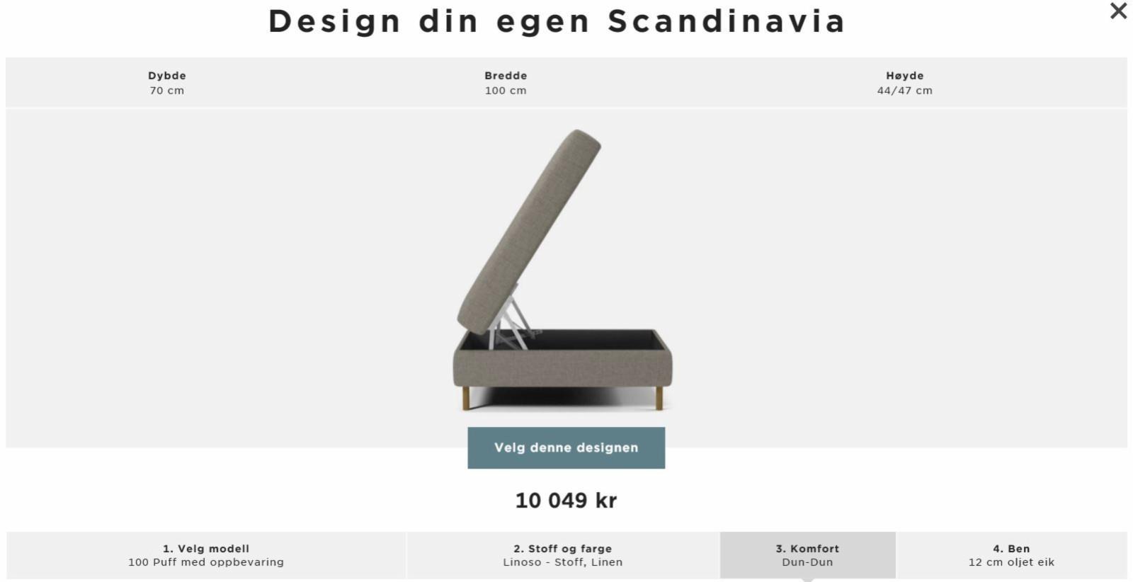 Bolia scandinavia puff (Linoso-linen, dun-dun) - Oslo  - ca 1 1/2 år gammel puff fra bolia selges. Nypris fra bolia: kr 10.049,-. (vi betalte kr 4.424 på tilbud). Denne passer perfekt til sofaen som også selges, se annonse her: https://www.finn.no/bap/forsale/ad.html?finnkode=106669579 - Oslo