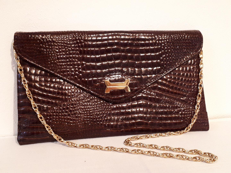 Vintage veske i krokodille skinn med gullenke | FINN.no