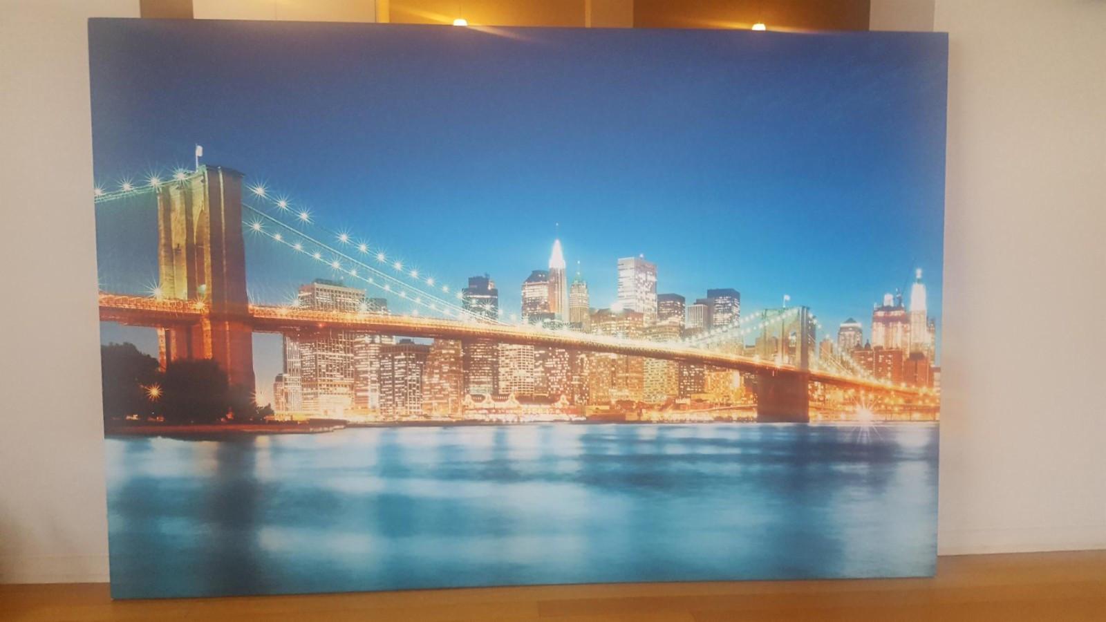 Brooklyn Brigde stort bilde - Oslo  - Stor lerret på blindramme selges. 150 x 100 cm. Bildet er nylig kjøpt på photowall.no for 1500,- art.nr 19862 - Oslo