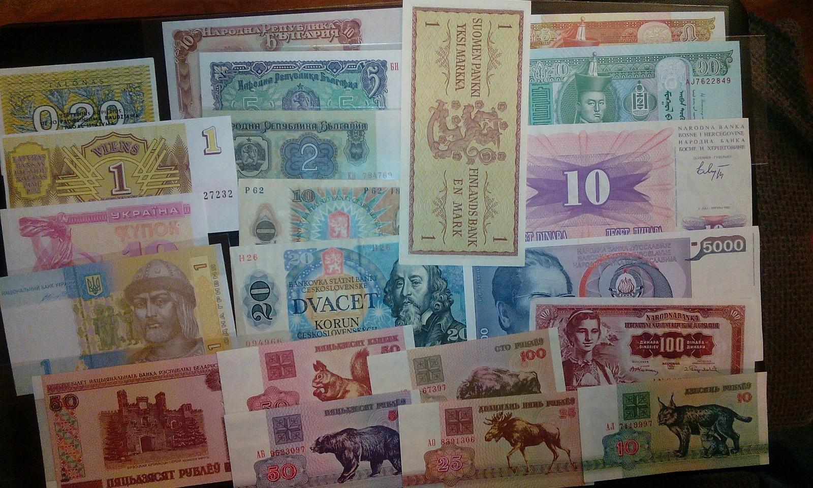 22 stk sedler selges. - Lovund  - 22 stk sedler fra bl.a. Hviterussland, Tjekoslovakia, Bulgaria, Jugoslavia mm. Selges kr. 150,- Sedlene er stor sett UNC. Kjøper betaler frakt. - Lovund