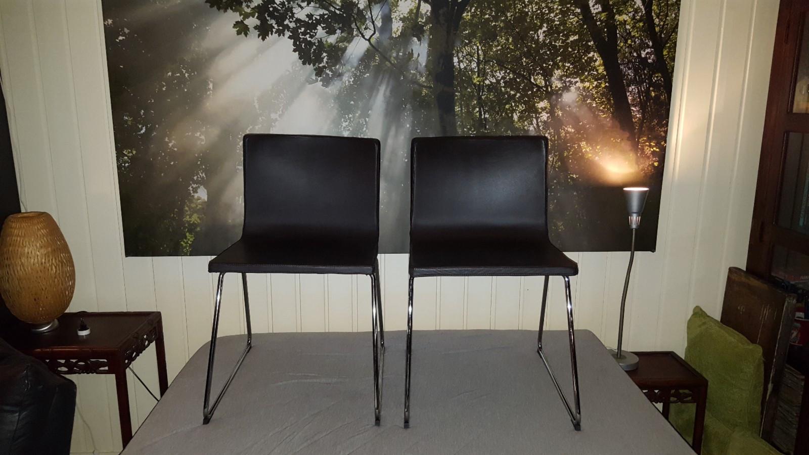 IKEA Bernhard stoler (2 stk.) - Fjerdingby  - Selger to Ikea Bernhard stoler (sort). Pris kr 450 for en stol. Stolene er veldig lite brukt. Ny pris kr 995 for en stol. - Fjerdingby