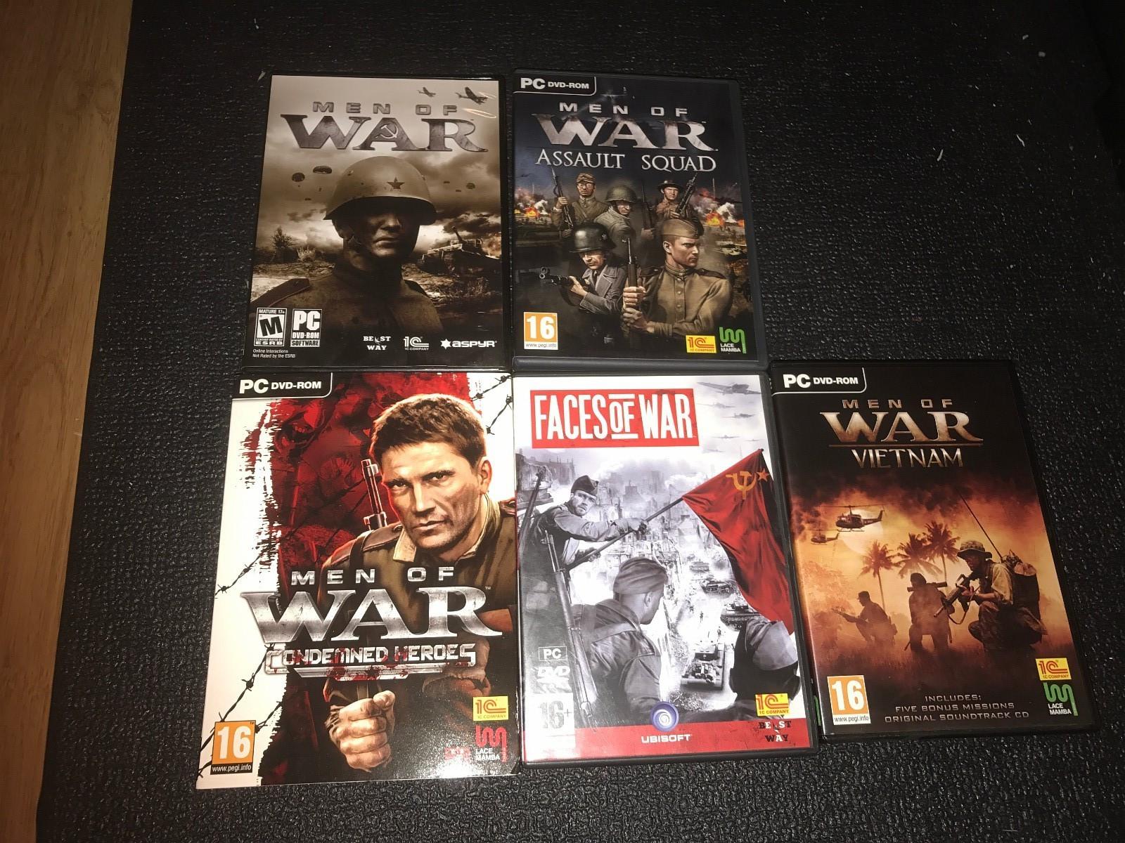 Men of War+Faces of war PC spill. - Klokkarstua  - Men of war-1,Vietnam,Assult squad,Condemd Heroes+Faces of war PC spill selges samlet i god stand.Kjøper betaler frakt. - Klokkarstua