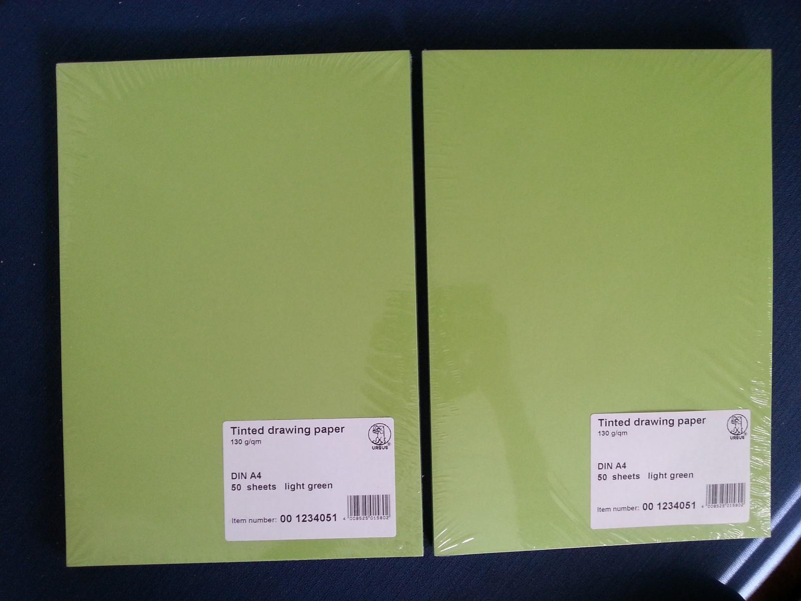 A4 ark - Light green - Tinted drawing paper (Ursus) - Tomasjord  - A4 ark - Light green - Tinted drawing paper (Ursus) Uåpnet, fortsatt i plastikk. Kjøpt på Notabene for kr 90/stk, selges til kr 65/stk. Kan sendes, eller hentes i Tromsø. - Tomasjord