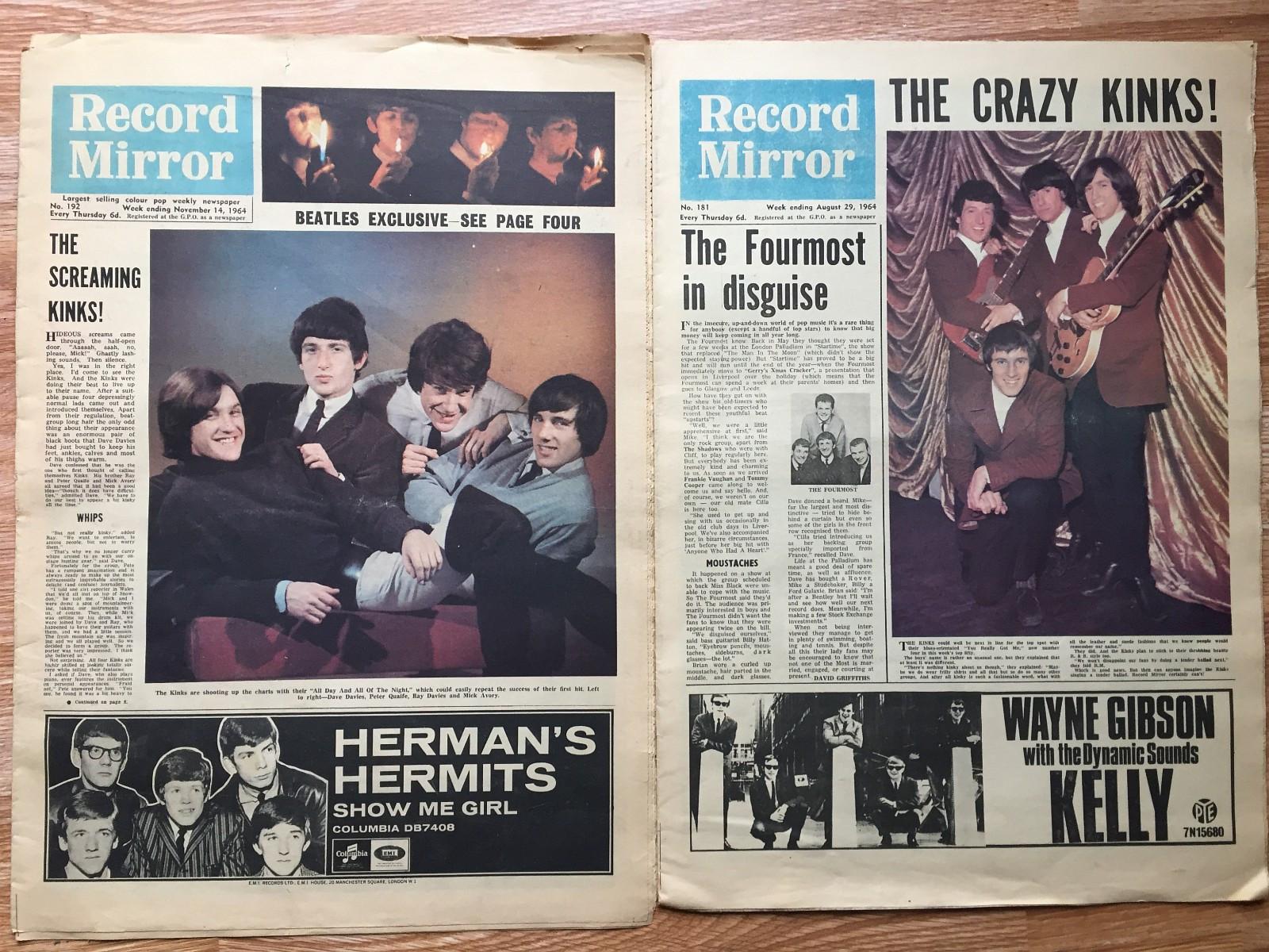 Record Mirror - The Kinks - Jaren  - To utgaver av den engelske musikkavisen Record Mirror fra 1964 med The Kinks på forsiden. Kr. 50 for begge. Eventuell porto/frakt kommer i tillegg. - Jaren