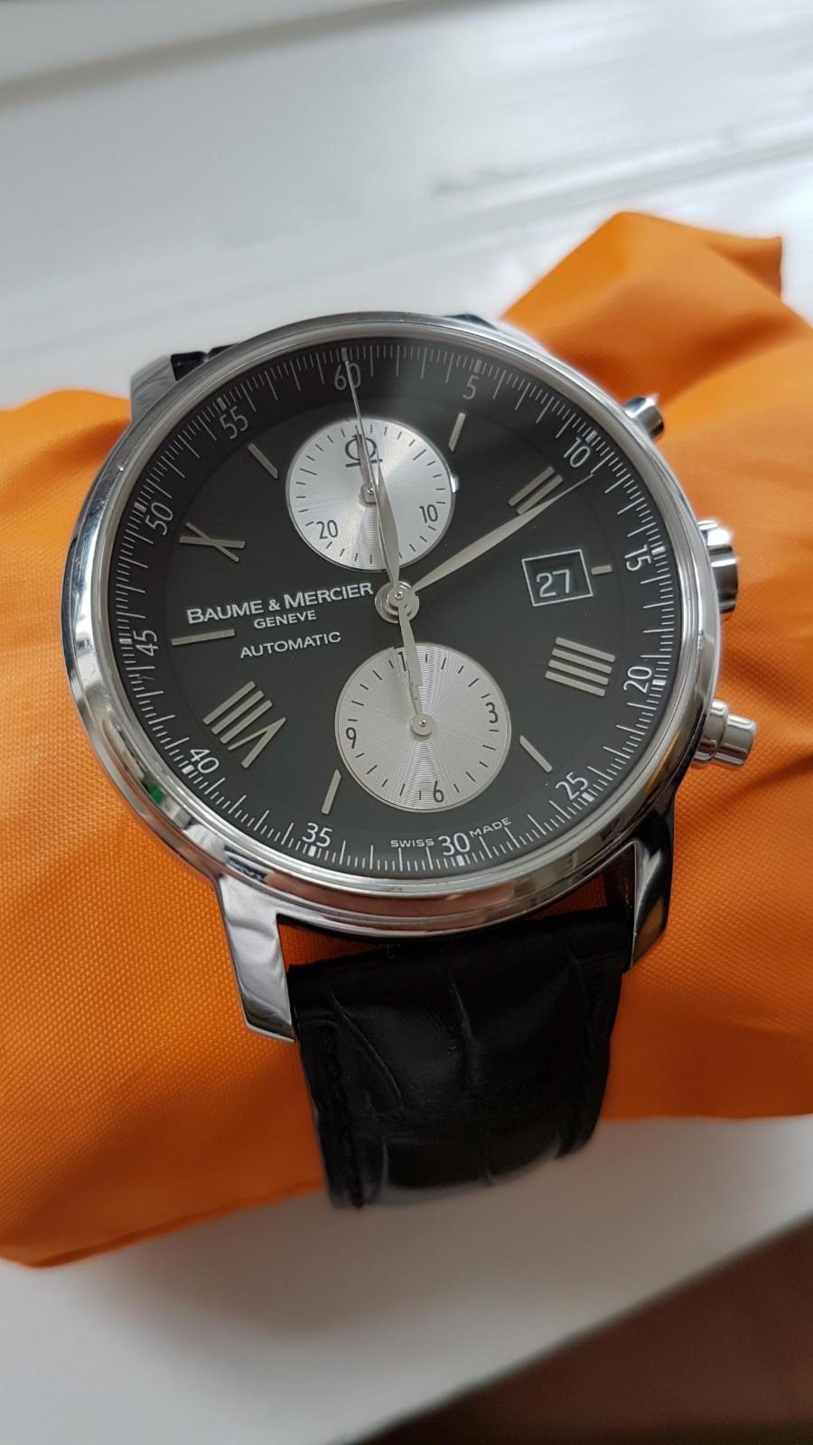 Baume et Mercier Classima XL Chronographe - Oslo  - Etter min mening en av de fineste klokkene til Baume & Mercier.  Noen riper i kasse som er ubetydelige. Reima er i god stand og glasset er helt fint. Åpen for bud og bytte i annen klokke ev. mellomlegg.   Uten boks og papir - Oslo