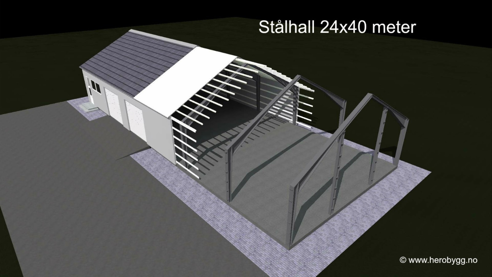 Wonderful 24x40 meter lagerhall, stålhall, garasje, landbruksbygg mm. selges UA-57