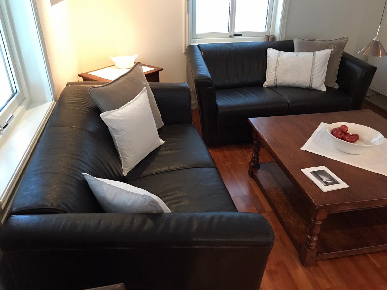 Sofa 2-s. i skinn, 2 stk med puff. - Fjellhamar  - Sofa 2-s. i skinn. To stk sofa og en puff. Pent brukt og godt vedlikeholdt. Selges samlet. Sofa: bxdxh = 148x85x74 cm Puff: bxdxh = 120x62x35 cm - Fjellhamar