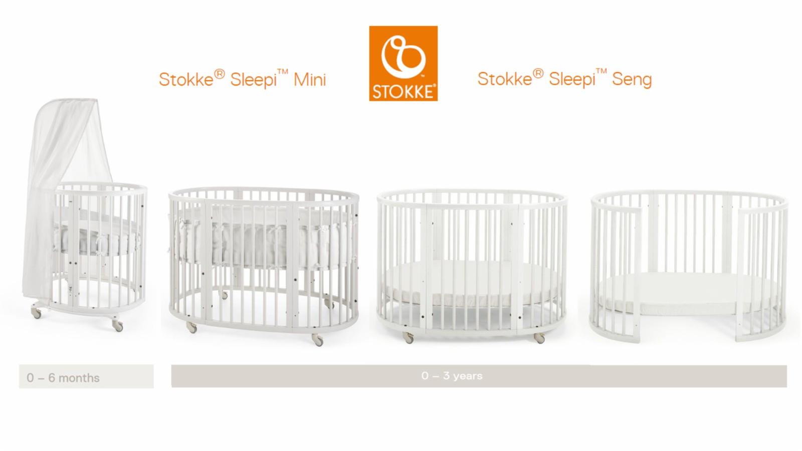 Stokke Mini + Sleepi barneseng selges (passer fra 0 ca 3-4 år) - Bekkestua  - Pent brukt Stokke Sleepi barneseng selges og klar til å hentes. (Ferdig demontert). Alle deler og madrasser du ser på bildet følger med (med forbehold om jeg finner sengehimmel og bumper til Mini)  Ny pris for dette er ca kr 8.000,-   - Bekkestua